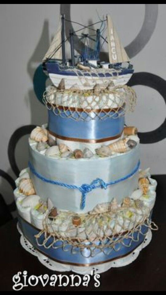 Boat Diaper cake for boys