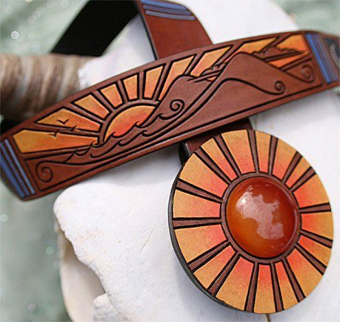 Original Sun ~ hand-carved leather belt with carnelian gemstone sun buckle on Etsy, $450.00