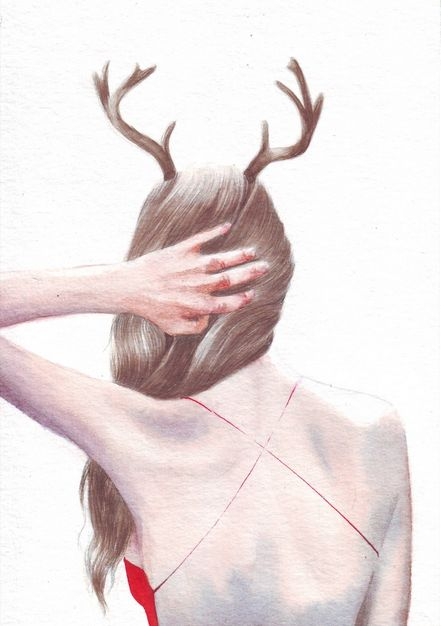 Original painting watercolor art: Woman, Red Dress and Antlers from Art by Helga McLeod, for sale on http://hellopretty.co.za