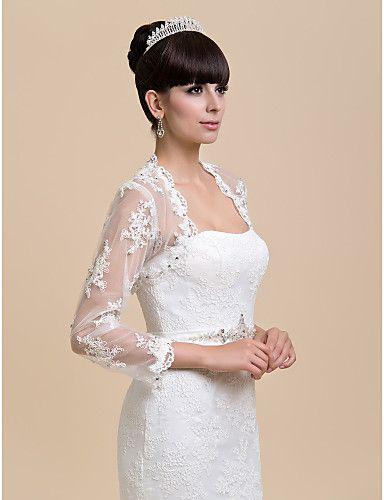 prachtige lange mouw kant avond / bruiloft avond jas / wrap (meer kleuren) bolero schouderophalen – EUR € 32.48
