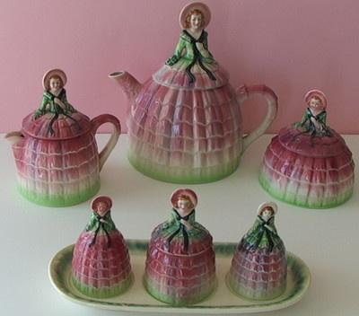 Fab Vintage Crinoline Lady Teapot Condiment Tea Pot Set Half Doll Southern Belle   eBay