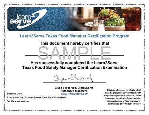 texas food manager ansi online certification $35 | texas