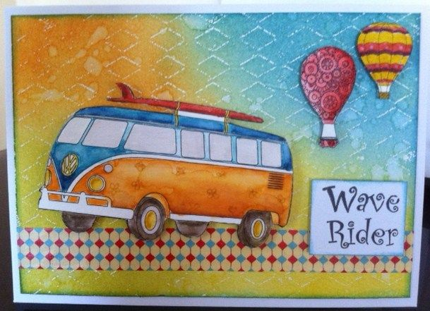 VW Bus   Hot Air Balloons free digis from http://www.birdscards.com   Carmen Gamble @ Beyond The Fringe Crafts. Coloured with Kaszazz distress markers.