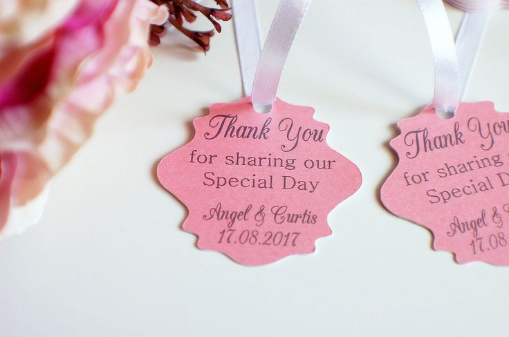 Wedding thank you tags, pearlised wedding tags, thank you for sharing our special day tags, wedding favor tags, pearlised pink by TPDWeddingStationary on Etsy