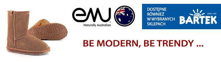 Obuwie Emu w sklepach BARTEK! Emu to buty bardzo widoczne we współczesnym modowym krajobrazie. Bardzo wygodne i na topie od baaaardzo dawna zwłaszcza zimą. Leginsy, dżinsy-rurki, rajstopy – kombinacji jest wiele. Emu używane są  jako obuwie na co dzień, ale również można je zauważyć na premierach filmowych oraz innym ważnych wydarzeniach w świecie show biznesu – jak wiadomo gwiazdy lubią się wyróżniać :)