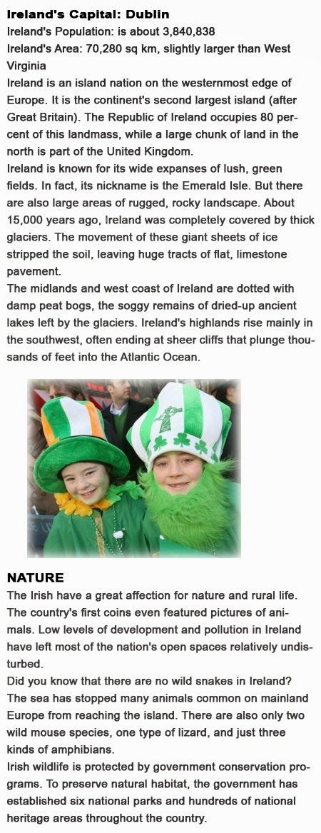Facts about Ireland for kids http://firstchildhoodeducation.blogspot.com/2013/10/facts-about-ireland-for-kids.html