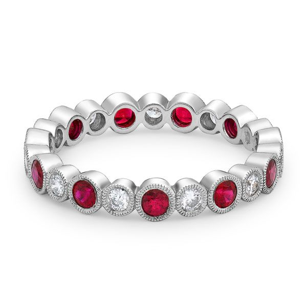 Alternating ruby and diamond rubover set full eternity. This classic ring can be made in either 18-carat white gold or platinum. www.kellerwood.com