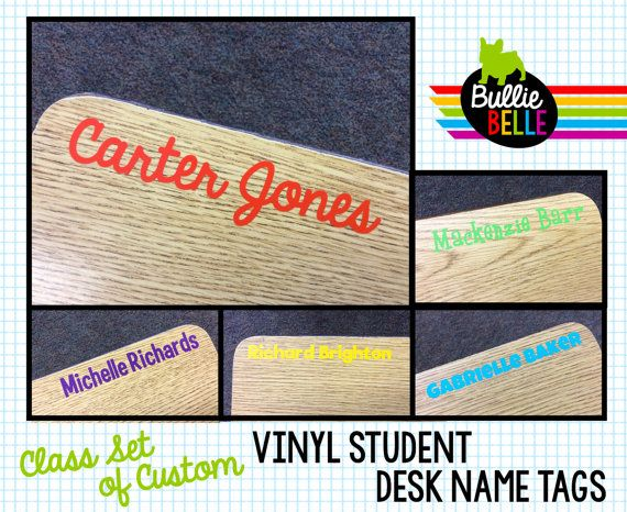 This listing is for a class set of custom vinyl student desk name tags. Vinyl is durable, adheres easily, and removes cleanly. Depending on the font, the name tags are roughly 3/4 - 1 inch tall and are an average of 6 long depending on the length of the name.  You may choose the font and an assortment of up to four colors. Select your font and number of name tags using the drop down menu. Then tell me your color choice(s) in the notes to seller box during checkout. You may include your…