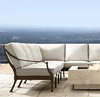RH's Antibes Luxe Three-Seat Right-Arm Return Sofa:Impeccably made outdoor furniture rendered in rustproof cast aluminum captures the relaxed elegance of the French Mediterranean. Sectional components are available individually, allowing you to customize the configuration of your choice.