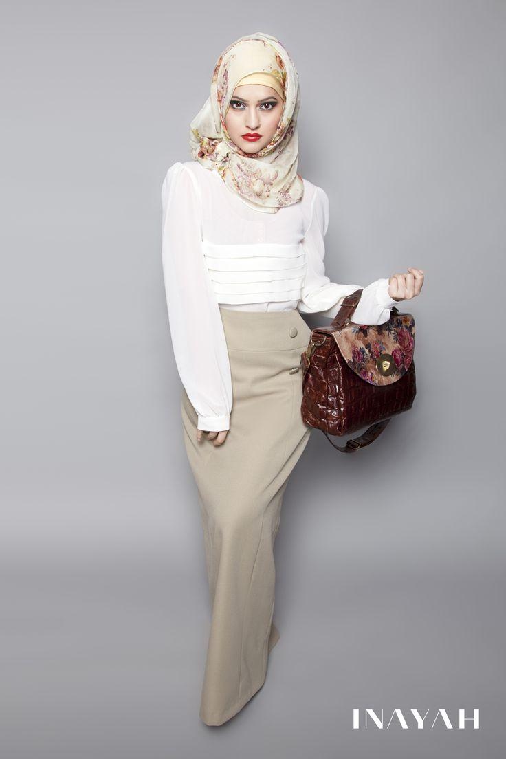 Grey Green Maxi Pencil Skirt Off White Ruffle Top Cream Vintage Rose Hijab