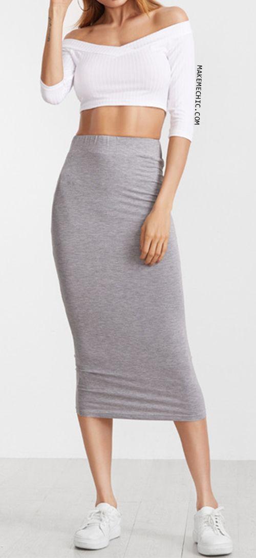 Heather Grey Elastic Waist Midi Pencil Skirt