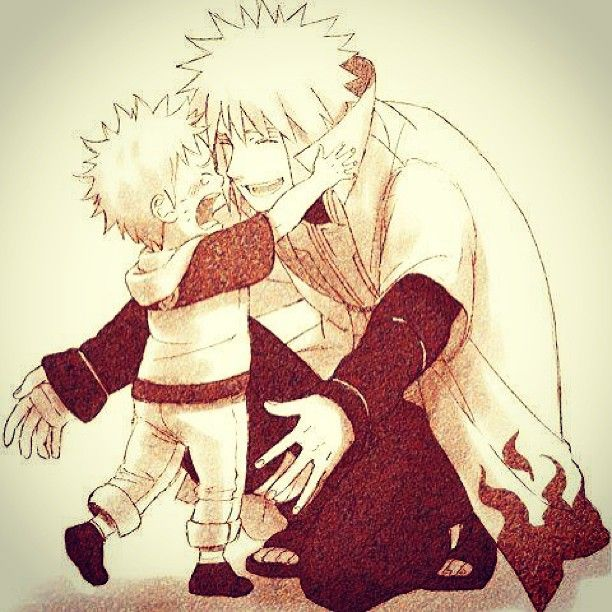 father and son. Awww had Minato lived he would have been a wonderful dad! What am I saying he already is a wonderful dad even though he wasn't around! But it would have been better to see all those father/son moments!
