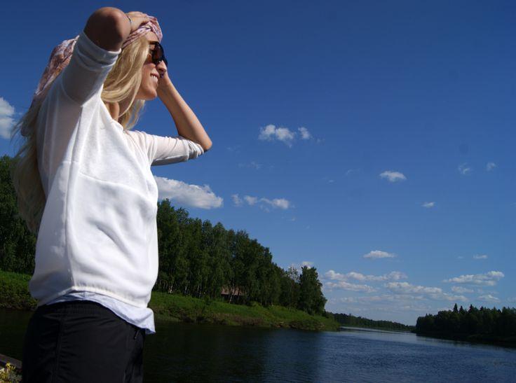 Finnish girl feeling the summer breeze on a river raft. #summer #river #Finland  ©MarikaLindström (photoshoot: summer pics for Levi)