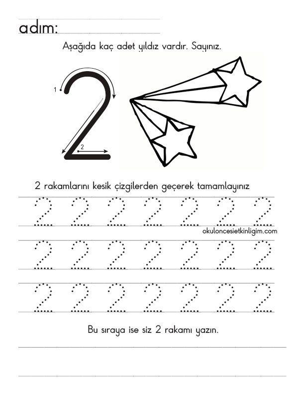 1 Den 9 A Yönlü Düz Yazı Rakam çalışmaları Okul öncesi