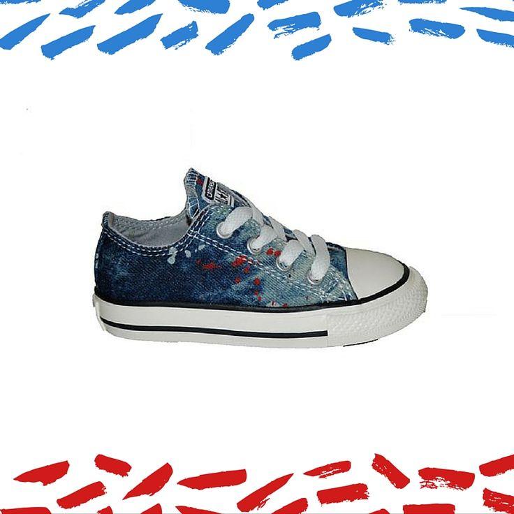 #Kids #shoes Παπούτσι Converse αθλητικού τύπου, τζην με κορδόνια.