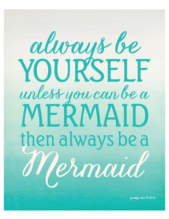 Always Be A Mermaid Modern Beach House Art by prettychicsf