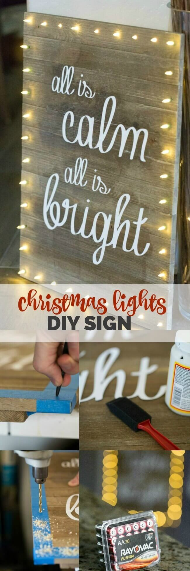 Christmas Lights DIY Board Sign via @spaceshipslb @rayovac #SureThing #ad