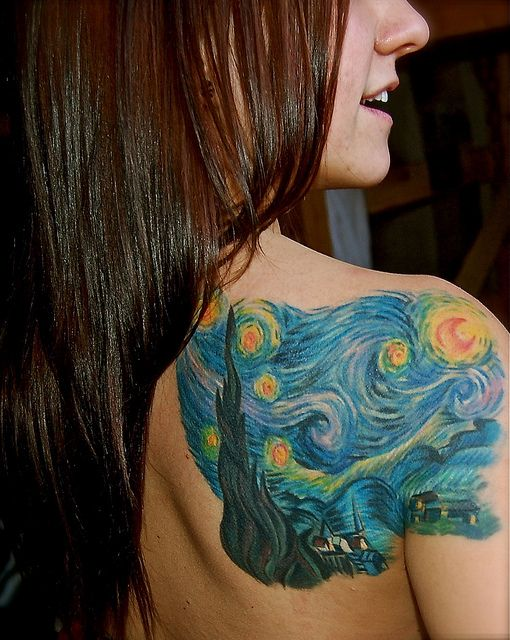 "I really want a ""Starry Night"" tattoo.I already have a back of the shoulder tattoo and I like to be able to hide them. I'm thinking...side rib cage!?"
