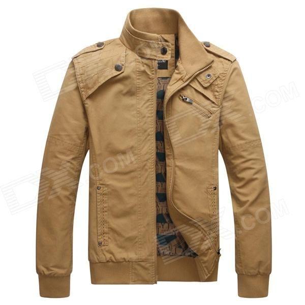 Men's Fashionable Casual Cozy Warm Keeping Blending + Rayon Jacket - Khaki (Size XL)