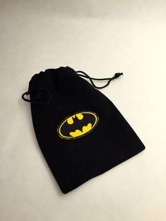 Superhero Favor Bags: Batman Favor Bag,  Drawstring Bags With Batman design
