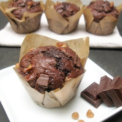 Double Chocolate and Peanut Butter Muffins (with DIY pb chips)