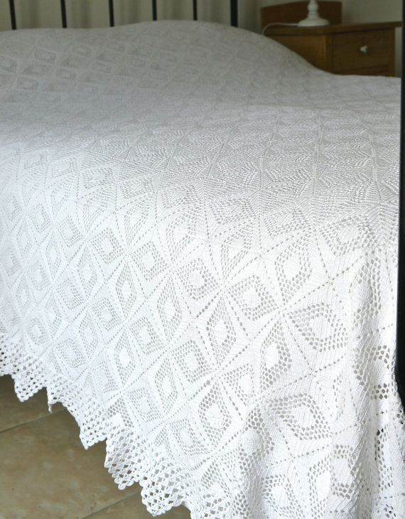 A Beautiful French Vintage white crocheted Bedspread.  This is a really delightful item with the bedspread crocheted in a very attractive