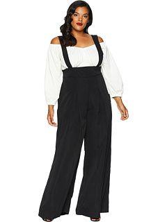 1095b416698 Unique Vintage Plus Size High-Waisted Wide Leg Rochelle Suspender Pants