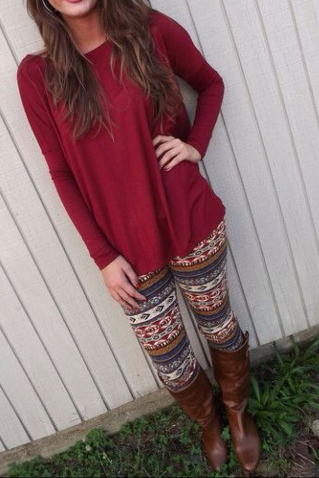 Fall outfit. I know normally don't like crazy leggings like this, but I think these are a DO!