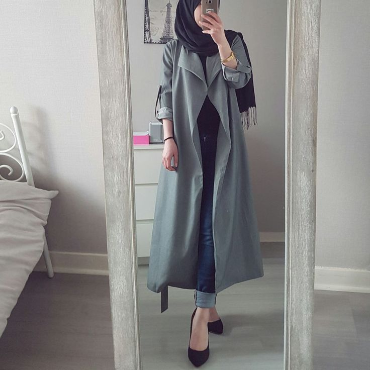 Veste longue grise via Jennah Boutique. Click on the image to see more!