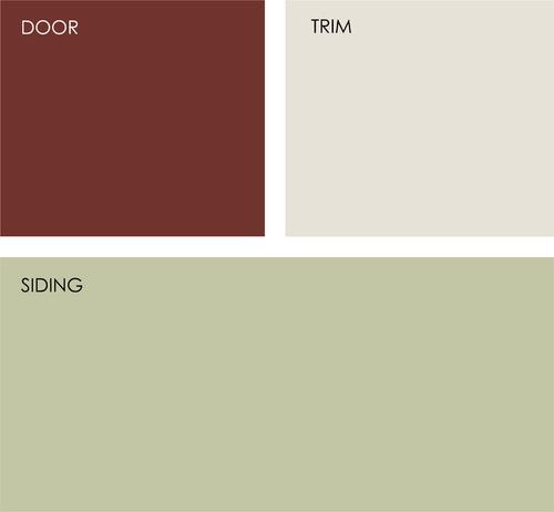 Exterior house colors Behr: Red Pepper UL120-22, Ostrich W-F-410 and Rejuvenate 410E-3.