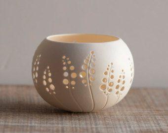 Ceramic candle holder, dandelion design. porcelain tea light Delight Collection – N.5 design by Wapa Studio