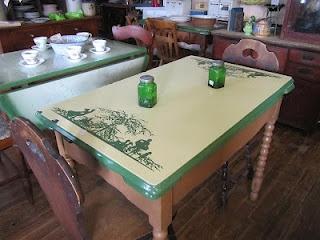 Very cool enamel top table.