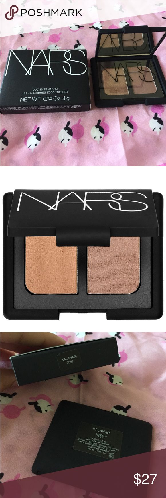 NEW NARS Eyeshadow Duo in Kalahari New in box and authentic. In the shade kalahari, a bronze pearl color and a milk chocolate color. Very pigmented and easy to blend and NARS packaging is also a plus. NARS Makeup Eyeshadow