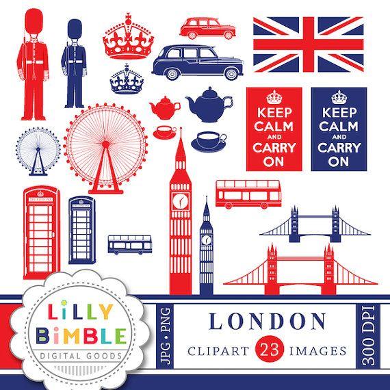 50% korting op Londen Engeland clipart voor van LillyBimble op Etsy