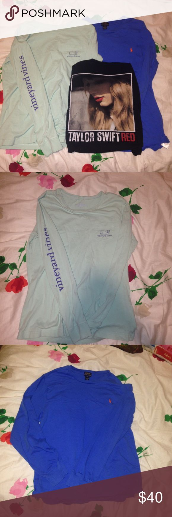 tshirt bundle there is one vineyard vines shirt, a polo t shirt, and a taylor swift red tour shirt. the vineyard vines shirt is a women's small and it is mint colored with a navy outline of the whale and words. the taylor swift shirt is from the red tour and on the back it has all of the dates form the concert on it. and the polo shirt is a blue color with an orange horse logo it is a kids xl(18-20). all the shirts are in great condition!!! feel free to make offers!! Vineyard Vines Tops Tees…
