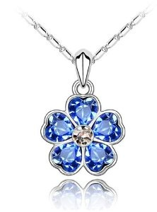 Valentines Day Gifts Swarovski Austrian Crystal Elements Blooming Heart-shaped Flower Pendant Necklace - 18 Inch Chain 18k True Platinum Electroplate - Deep Blue