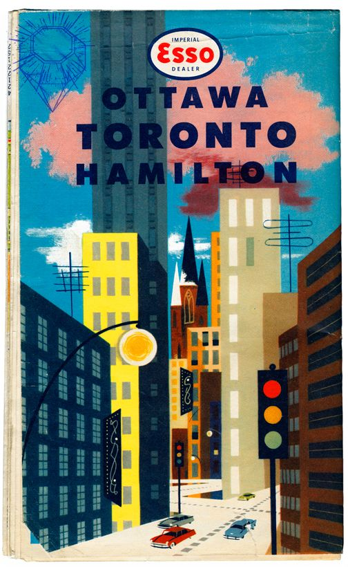vintage Esso poster - Ottawa, Toronto, Hamilton