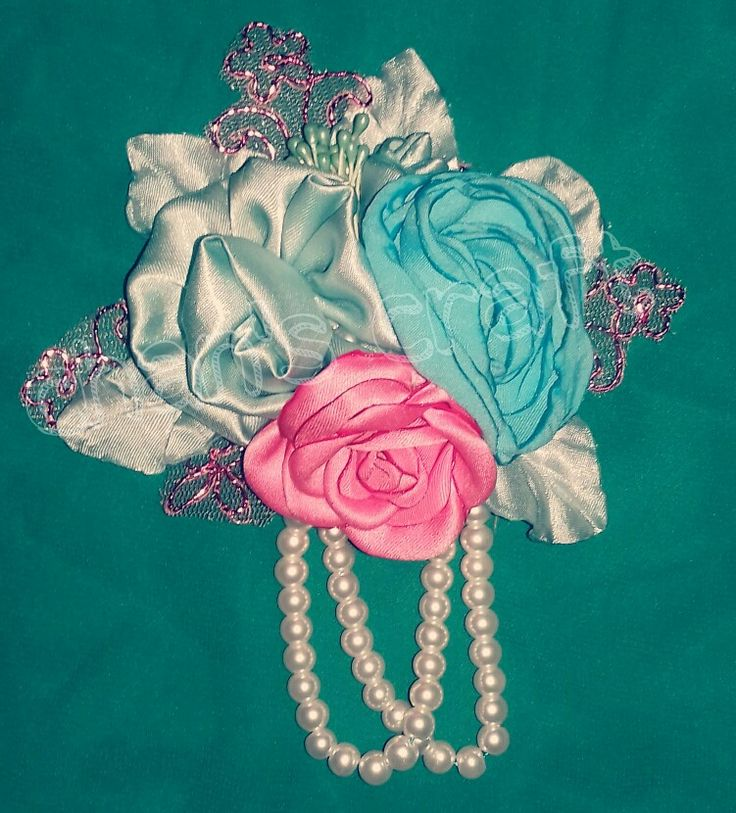 Ribbon and fabric brooch @ 25 rb