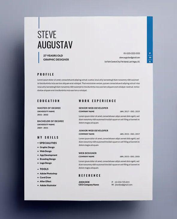 Clean Professional Minimalist Cv Resume Template Clean Resume Design Cv Resume Template Graphic Design Cv