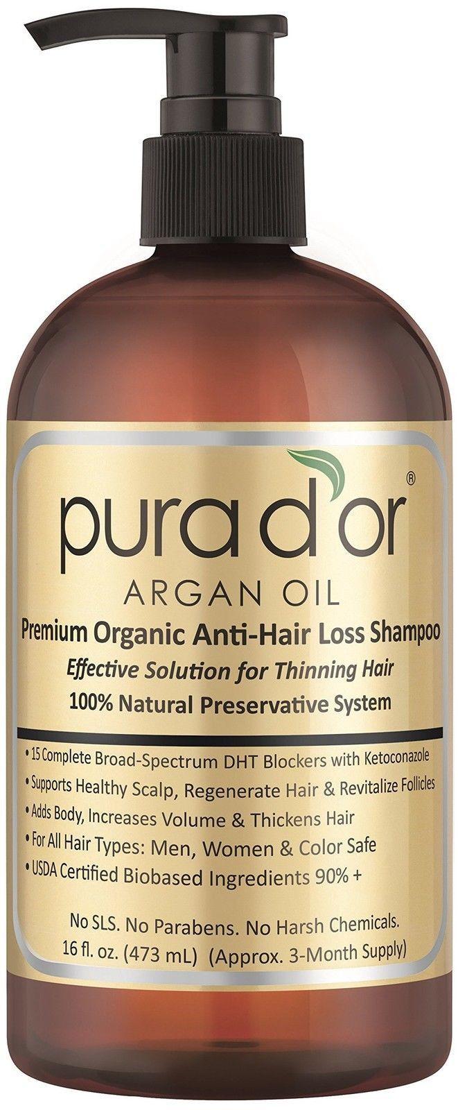 Pura d'or Premium Organic Argan Oil Anti-Hair Loss Shampoo (Gold Label) 16 Fl...