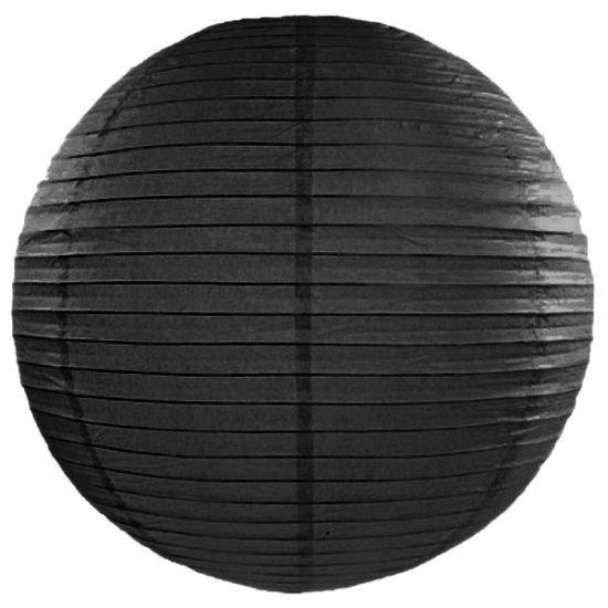 Luxe bol lampion zwart 50 cm. Zwarte bol lampion van ongeveer 50 cm groot. Voor een zeer leuk effect gebruik deze lampion in combinatie met een LED lampje. In de lampion zit een haakje waar je het LED lampje aan kunt hangen. De lampion is niet brandvertragend.