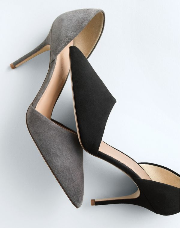 J.Crew women's Elsie suede d'Orsay pumps. To pre-order, call 800 261 7422 or…