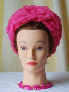 1950-60s HOT PINK CHIFFON HAT