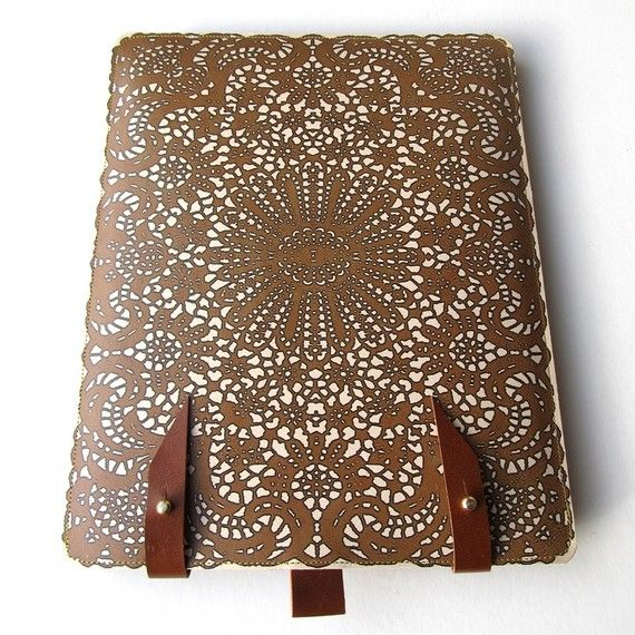 Prettiest iPad cover ever!Ipad Iphone, Leather Ipad, Ipad Cases, Gift Ideas, Antiques Lace, Laser Cut Leather, Leather Iphone, Iphone Cases Leather, My Birthday