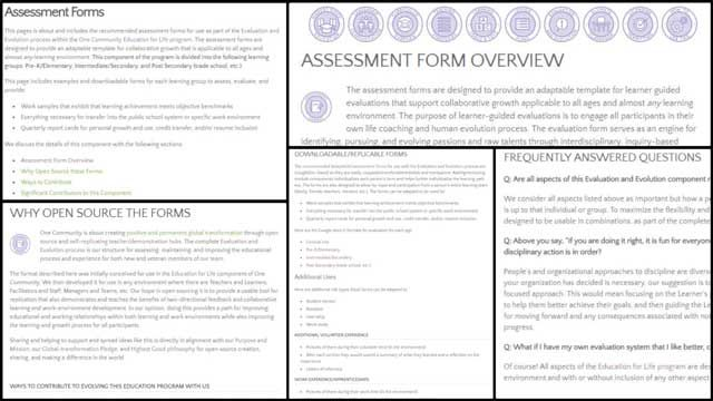 Created Formatting and Began Entering Content for theAssessment FormsPage - Click to Visit, https://www.onecommunityglobal.org/assessment-forms/