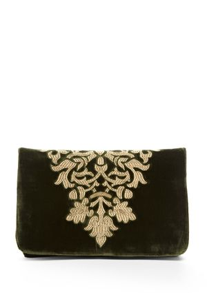 velvet clutch w/ gold embroidery