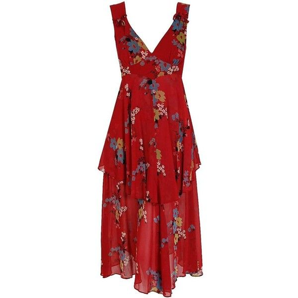 1970's Ossie Clark Raspberry-Red Floral Crepe Celia Birtwell Print... ($1,200) ❤ liked on Polyvore featuring dresses, floral printed dress, floral print dress, red floral dress, red print dress and flower pattern dress