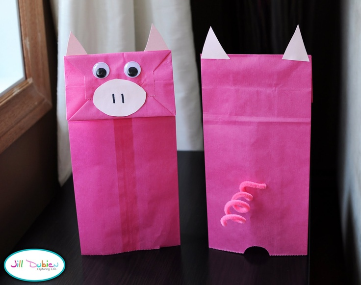 Paper bag piggy puppets. Could expand on this and use it to enhance language skills and speech