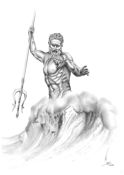 Poseidon 21x29,7 cm (8.2x11.7 inches). $20.00, via Etsy.