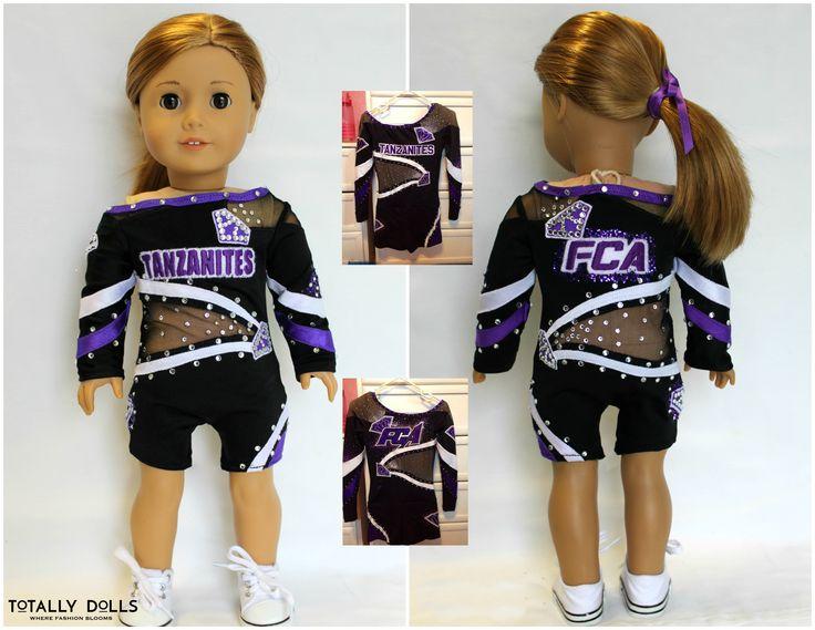 American Girl 18 inch doll CuStOm CHEER or DANCE uniform  costume rhinestones Made to Match